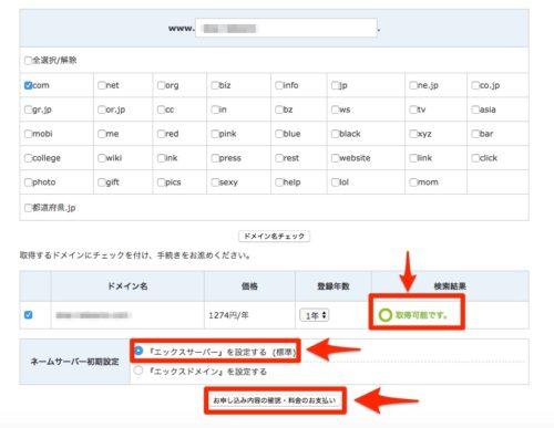 ドメインが使用可能であれば、エックスサーバーを選択して、お支払いに進んでください。
