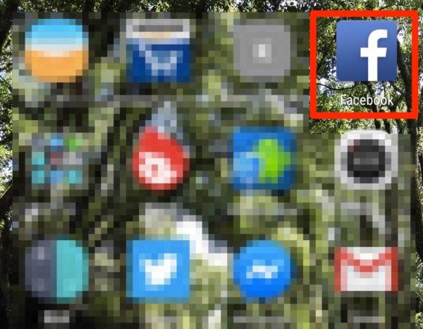スマホの画面からフェイスブックアプリを開く